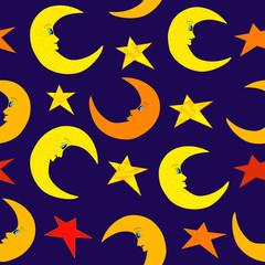 Seamless moon and stars on night bright blue sky illustration