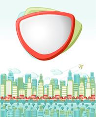 Colorful cartoon city landscape