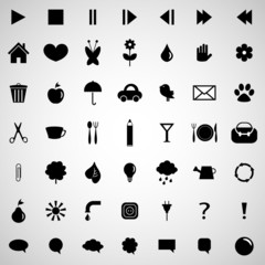 Various black icons set