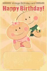 Retro Design Baby Birthday Card