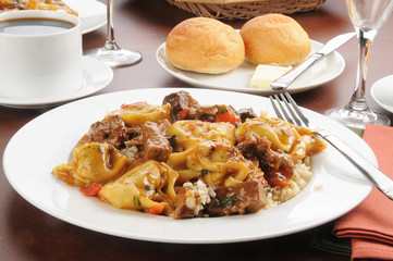Braised beef tips and tortellini
