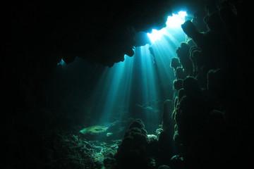 Sunlight in Underwater Cave