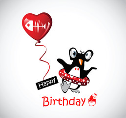 Happy Birthday Card funny penguins