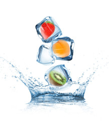 Garden Poster Splashing water Fruit in ice cubes in motion