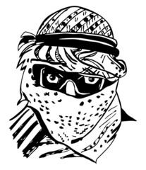 Man in traditional Arab headdress, keffiyeh, vector illustration