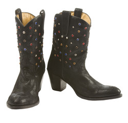 Black cowgirl boots pair with gems