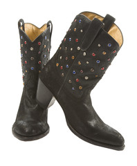 Black cowgirl boots mounted pair with gems