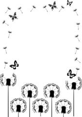 black butterflies and dandelions frame