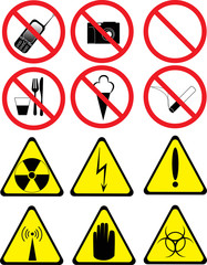 set of prohibitory and warning signs