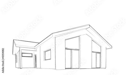 Sketch of modern house bungalow single object Stock photo and