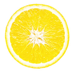 Aluminium Prints Slices of fruit Slice of lemon on white background