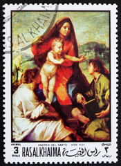 Postage stamp Ras al-Khaimah 1970 Madonna della Scala by Andrea del Sarto