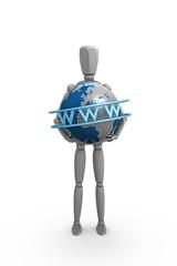 Gliederpuppe hält einen Globus mit WWW