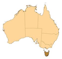 Map of Australia, Tasmania highlighted
