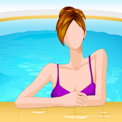 vector illustration of lady in swimming pool