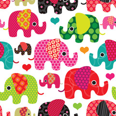 Seamless elephant kids pattern background in vector