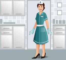 A cheerful nurse in uniform in a clinic