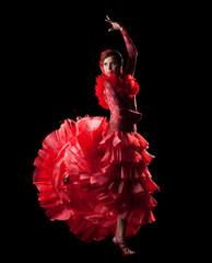 woman dance spain flamenco in red oriental costume