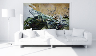 White couch with Artwork