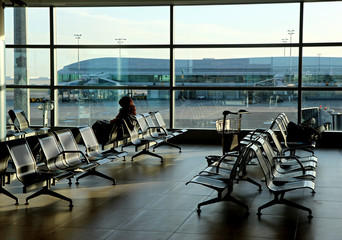 Aluminium Prints Airport empty seats in new airport hall building