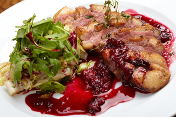 grilled steak with cherry sauce