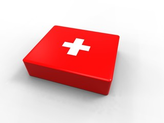 a first aid kit on black background