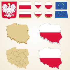 Poland Map, Vector 3D pack of Poland and flag