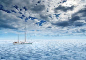 sailing yacht on a peaceful ocean voyage to paradise
