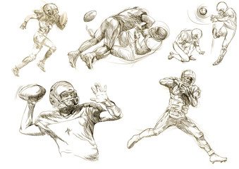 american football players collection (original sharp sketches)