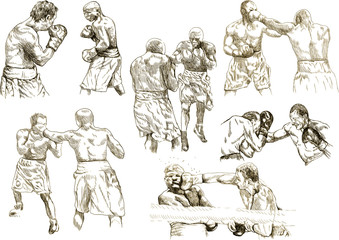 boxing match - snapshots (hand drawing collection of sketches)