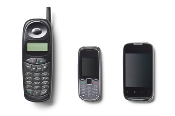 set of three generation cellphones
