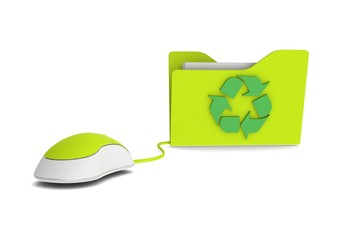 Recycle folder and computer mouse