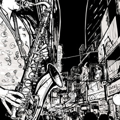 Garden Poster Music Band saxophonist playing saxophone in a street