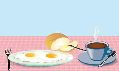 morning meal fried eggs coffee and bread with mask