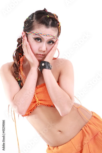 0ab231572 Cute girl in various dance costumes and fun poses.