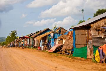 Slums on the road to the Otress beach, Sihanoukville, Cambodia