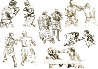 boxing match - different snapshots (hand drawing collection)