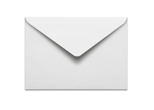 Blank envelope isolated on white background with clipping path