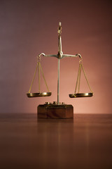 Scales of justice with ambient light