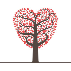 Love tree with space for text. Vector illustration.