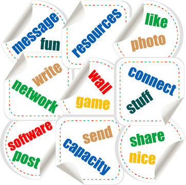 Social media stickers with networking concept words
