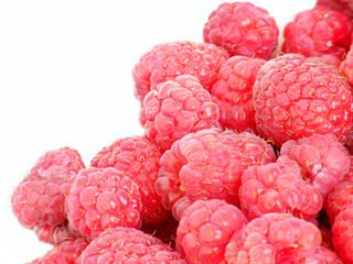 Fresh raspberries on white