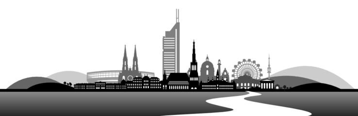 Skyline Wien - Donau und Berge