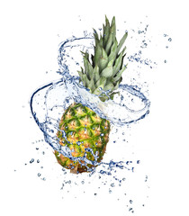 Poster Eclaboussures d eau Pineapple in water splash, isolated on white background