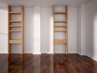 shelves on the white wall