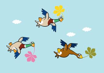 flying duck holding leaves