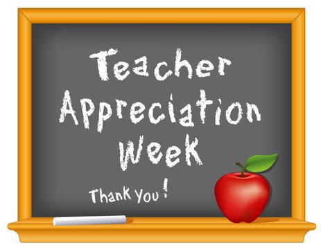 Teacher Appreciation Week, chalk, blackboard, apple, Thank you!