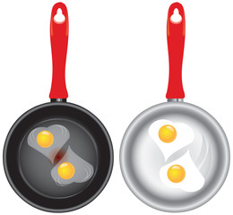 Set of saucepans with Scrambled eggs