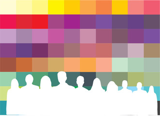 Wall Mural - COULEURS ET SILHOUETTES