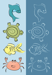 marine animals set